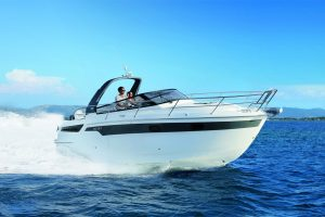 Cruise the waters of Ibiza on this Bavaria 30 Sport boat rental