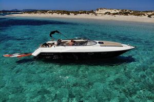 Crystal clear waters in Ibiza on your next charter with this Sunseeker 29