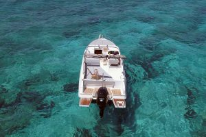 Head out on the stunning waters with the Pacific Craft 700 boat rental from Ibiza