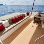 Amazing spacious lounge and dining areas on board the Silent 55
